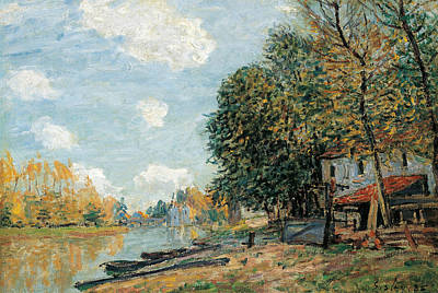 Moret The Banks Of The River Loing Poster by Alfred Sisley