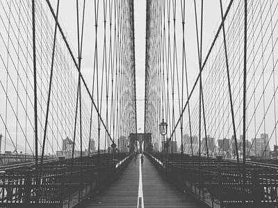 Morning On The Brooklyn Bridge Poster by Mountain Dreams