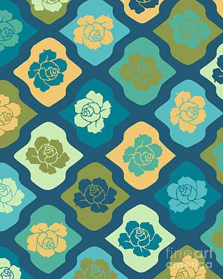 Moroccan Pattern With Rose Poster by Ramneek Narang