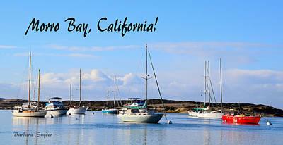 Morro Bay Harbor Big Red Boat Poster by Barbara Snyder