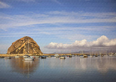 Morro Harbor And Rain Clouds Poster by Sharon Foster