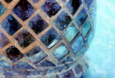 Mosaic Blues Poster by Krissy Katsimbras