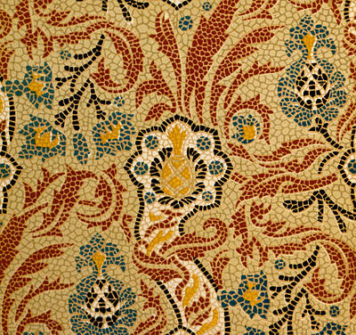 Mosaic Textile Pattern Poster by English School