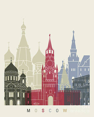 Moscow Skyline Poster Poster by Pablo Romero
