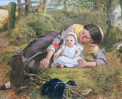 Mother And Child With A Poppy Poster by Frederick Richard Pickersgil