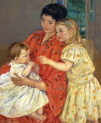 Mother And Sarah With The Baby Poster by Mary Stevenson Cassatt