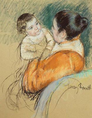 Mother Louise Holding Up Her Blue Eyed Child Poster by Mary Stevenson Cassatt