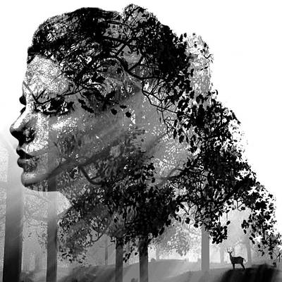 Mother Nature Black And White Poster by Marian Voicu