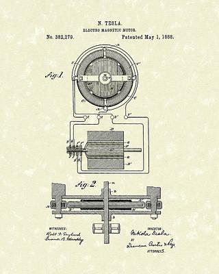 Motor 1888 Patent Art Poster by Prior Art Design