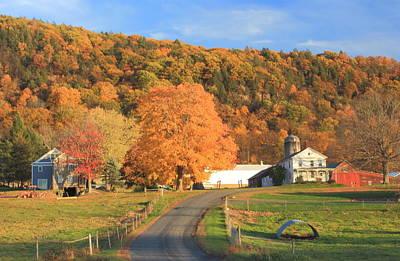 Mount Holyoke Range And Longview Farm In Autumn Poster by John Burk