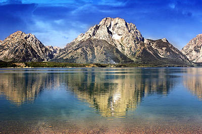 Mount Moran Across The Lake Poster by Marty Koch