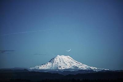 Mount Rainier Haloed By The Moon Poster by Petar Fourlinski