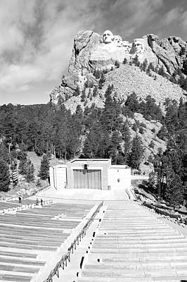 Mount Rushmore National Monument Amphitheater South Dakota Black And White Poster by Shawn O'Brien