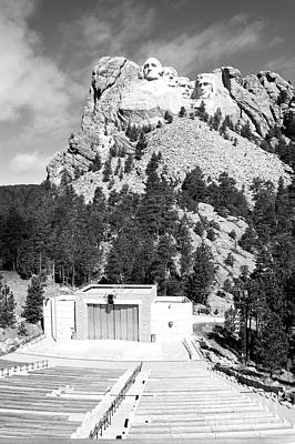 Mount Rushmore National Monument Overlooking Amphitheater South Dakota Black And White Poster by Shawn O'Brien