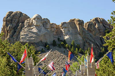 Mount Rushmore With Flags Poster by AMB Fine Art Photography
