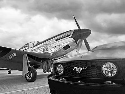 Mustang Gt With P51 Black And White Poster by Gill Billington
