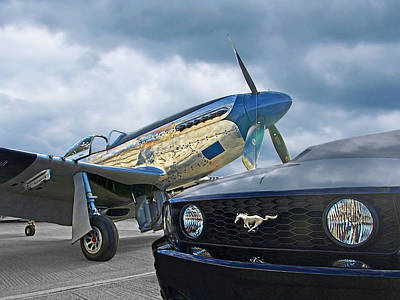 Mustang Gt With P51 Poster by Gill Billington