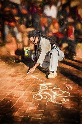 Mutant Ninja Chalk Drawing Poster by John Haldane