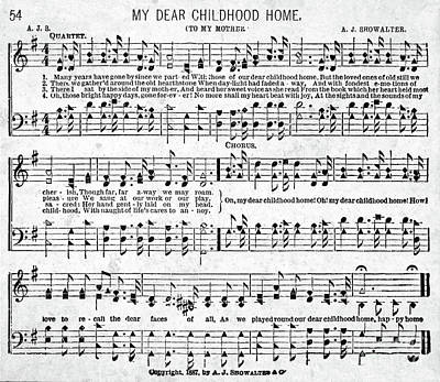 My Dear Childhood Home Musical Score Poster by Janet Scott