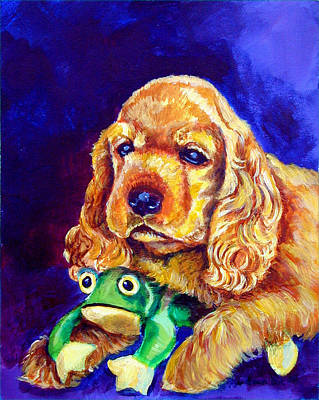 My Froggy - Cocker Spaniel Puppy Poster by Lyn Cook