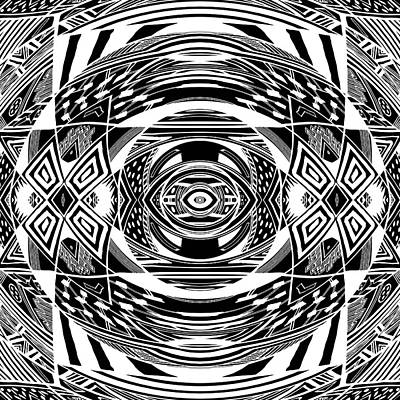 Mystical Eye - Abstract Black And White Graphic Drawing Poster by Nenad Cerovic