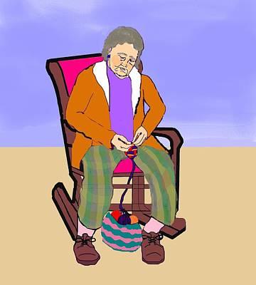 Nana Knitting Poster by Pharris Art