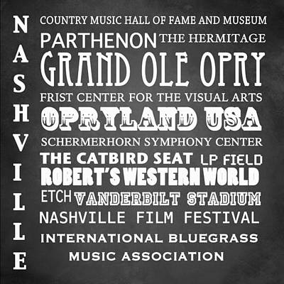 Nashville Famous Landmarks Poster by Patricia Lintner