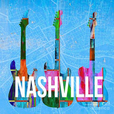 Nashville Guitars Poster by Edward Fielding