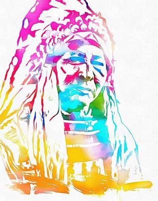 Native American Chief Watercolor Headdress Poster by Dan Sproul