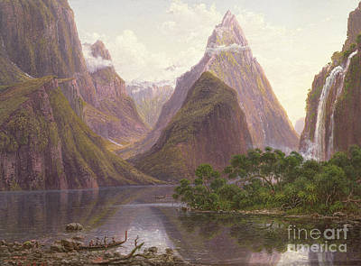 Native Figures In A Canoe At Milford Sound Poster by Eugen von Guerard