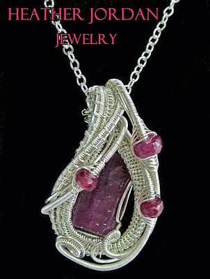 Natural Ruby Gemstone Wire-wrapped Pendant In Sterling Silver With Pink Sapphire Rbpss2 Poster by Heather Jordan