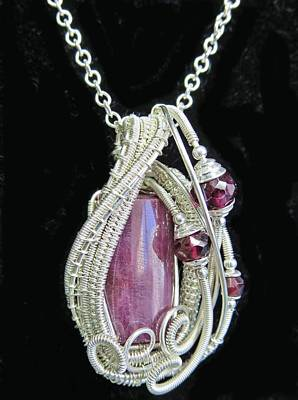 Natural Ruby Gemstone Wire-wrapped Pendant In Sterling Silver With Rhodolite Garnet Rbpss1 Poster by Heather Jordan