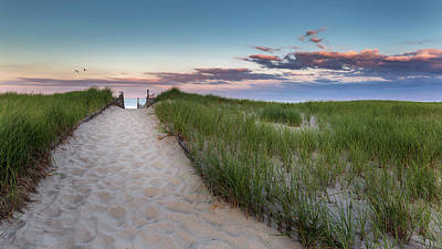 Nauset Beach Sunset Poster by Bill Wakeley