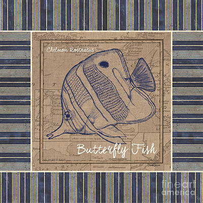 Nautical Stripes Butterfly Fish Poster by Debbie DeWitt
