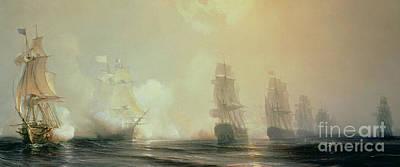 Naval Battle In Chesapeake Bay Poster by Jean Antoine Theodore Gudin