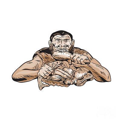 Neanderthal Man Eating Paleo Diet Etching Poster by Aloysius Patrimonio