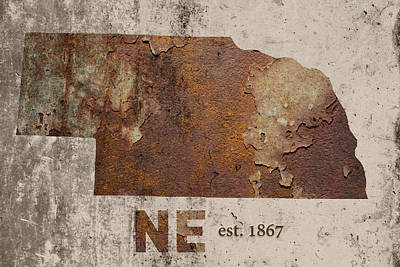 Nebraska State Map Industrial Rusted Metal On Cement Wall With Founding Date Series 039 Poster by Design Turnpike