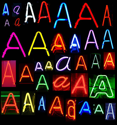 Neon Series Letter A Poster by Michael Ledray