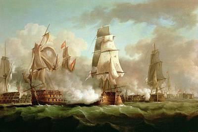 Neptune Engaging Trafalgar Poster by J Francis Sartorius
