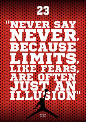 Never Say Never Gym Motivational Quotes Poster Poster by Lab No 4