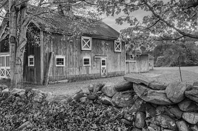 New England Barn 2016 Bw Poster by Bill Wakeley