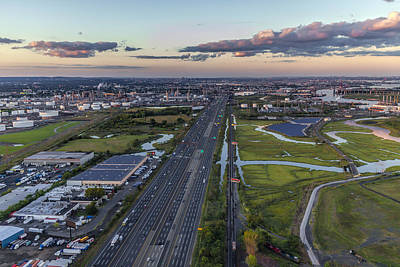 New Jersey Turnpike Aerial View Poster by Susan Candelario