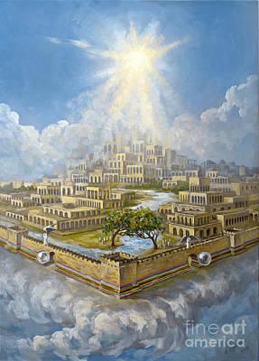 Eternity New Jerusalem Revelation 22 Original Oil On Canvas Painting By R. Vigovsky Poster by The Decree to Restore Jerusalem Israel by Ryan J Leaver