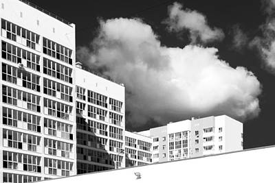New Modern Housing Apartments In Black And White Poster by John Williams