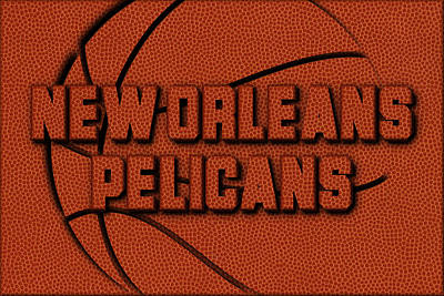 New Orleans Pelicans Leather Art Poster by Joe Hamilton