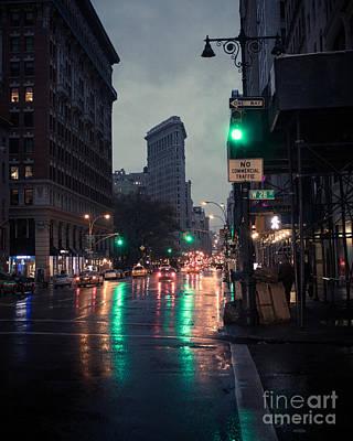 New York At Night Flatiron Poster by John Farnan