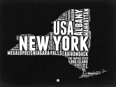 New York Black And White Word Cloud Map Poster by Naxart Studio