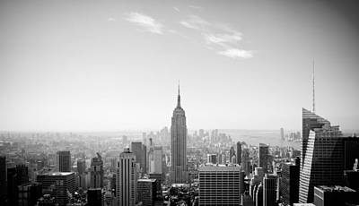 New York City - Empire State Building Panorama Black And White Poster by Thomas Richter