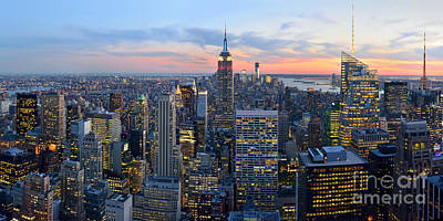 New York City Manhattan Empire State Building At Dusk Nyc Panorama Poster by Jon Holiday