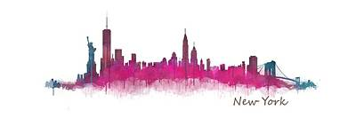 New York City Skyline Hq V05 Pink Violet Poster by HQ Photo